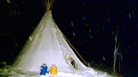 Connor Ferster is discovering what it's like to live in a teepee during Calgary's current cold snap.