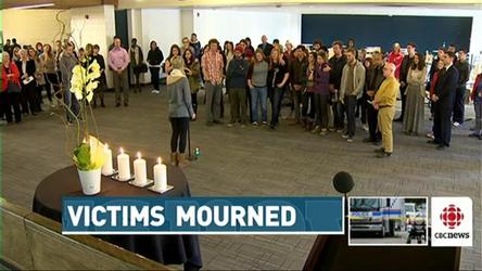Students and staff gathered at Mount Royal University to mourn two former students.