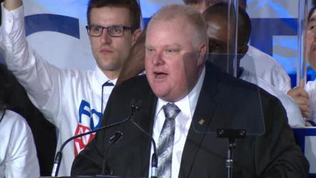 Toronto mayor officially launches his re-election campaign before a crowd of cheering supporters