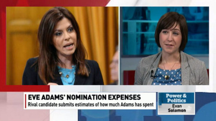 Rival Conservative candidate Natalia Lishchyna has given party officials an estimate of Adams's expenses, suggesting she's gone over the spending limit