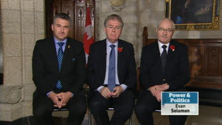 Parliamentary Secretary to the Minister of National Defence James Bezan, NDP defence critic Jack Harris and Liberal public safety critic Wayne Easter discuss