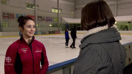 The champion figure skater broke her leg this fall. Watch her fight back to compete again.