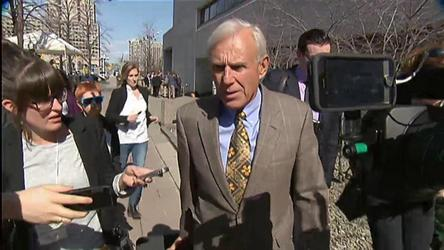 Duffy's Lawyer Donald Bayne talks to reporters as he leaves court