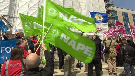 Labour groups held a rally at Confederation Building to protest cuts to the public sector and privatization of services.