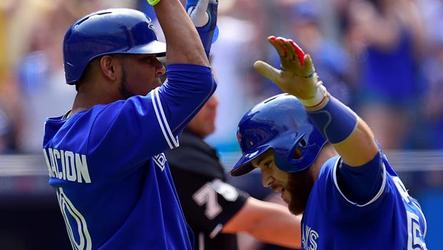 The Toronto Blue Jays scored 10 runs for the eighth time this season to top the Los Angeles Angels 10-6 and snap a five game losing skid.