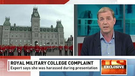 The head of the Royal Military College has apologized to a civilian expert on sexual assault prevention after she was whistled at, cat-called and laughed at while speaking to cadets.