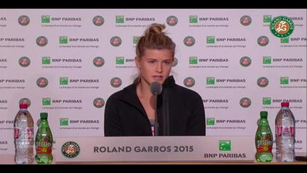 "Eugenis Bouchard explains to the press, after her elimination from the French Open, that she doesn't feel ""right""."