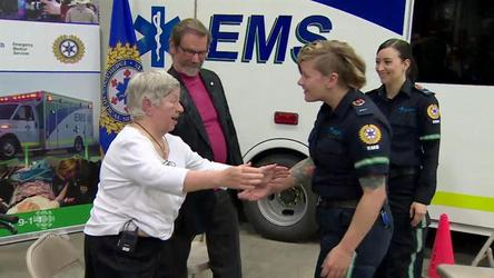 A Calgary woman is emotional as she reunites with the EMS team who saved her life when she collapsed in a parking lot in November 2013.