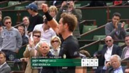 Andy Murray has his hands full with Portugals Joao Sousa winning 6-2, 4-6, 6-4, 6-1